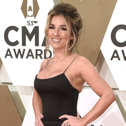 Jessie James Decker Smiles in Tight Black Dress and Updo and CMA Awards