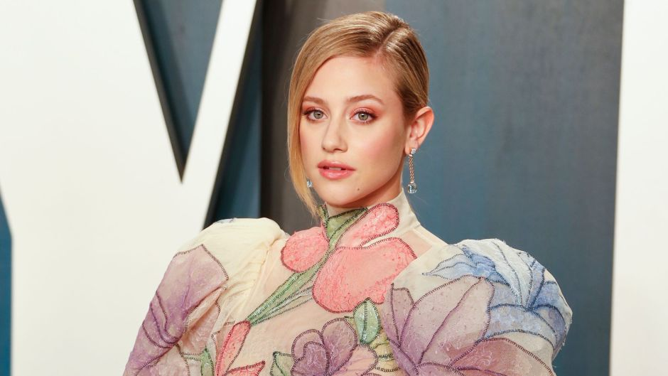 Lili Reinhart Poses in Watercolor Flower Gown at Vanity Fair Oscars Afterparty