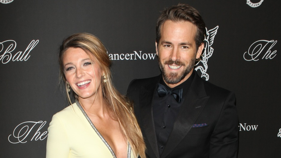 Blake Lively Shows Baby Bump in Yellow Gown With Plunging Sparkly Neckline With Husband Ryan Reynolds in Black Tux