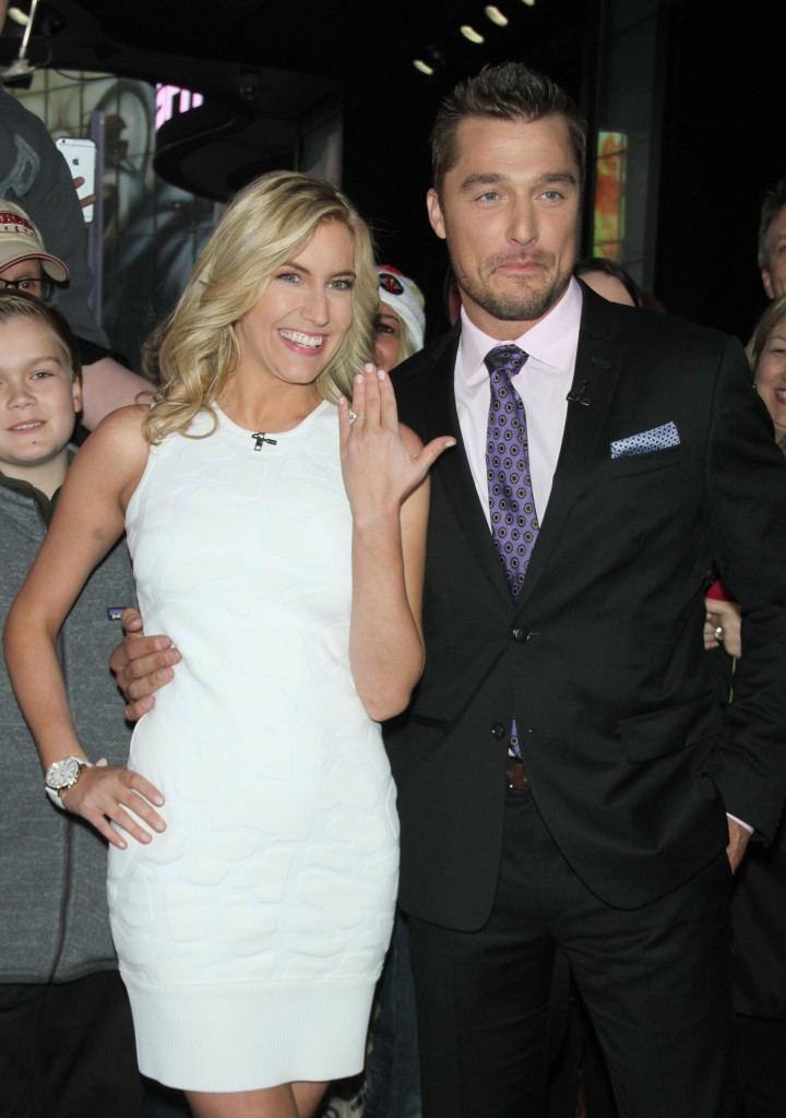 Bachelor Chris Soules Wears Black Suit With His Arm Around Ex Fiance Whitney Bischoff in White Dress