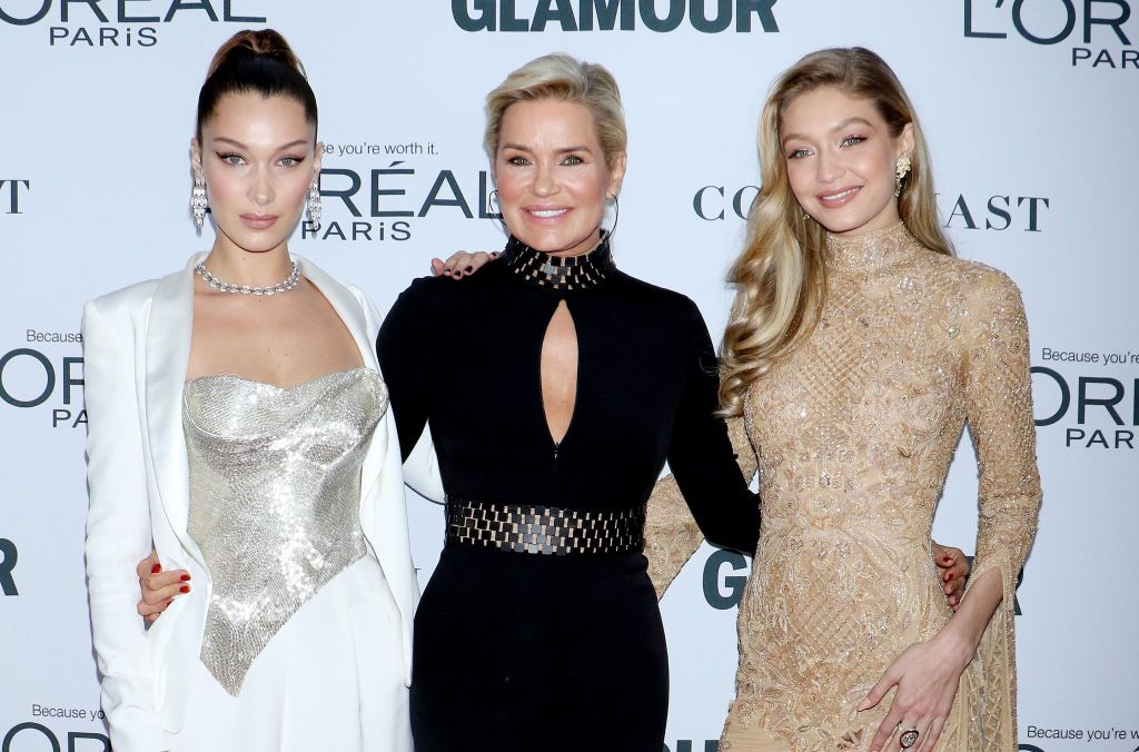 Gigi Hadid Wears Nude Dress With Arms Around Yolanda Foster in Black Dress With Keyhole and Bella Hadid in Silver Corset White Dress How They Reacted to Gigi's Pregnancy