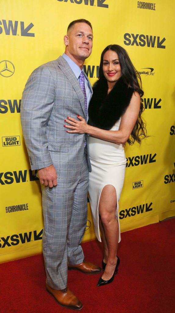 Nikki Bella Wears White Dress With Black Scarf with Ex Fiance John Cena at Blockers Premiere
