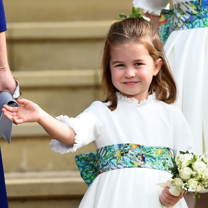 Princess Charlotte Wears White Dress With Green Belt and Waves While in Princess Eugenies Wedding