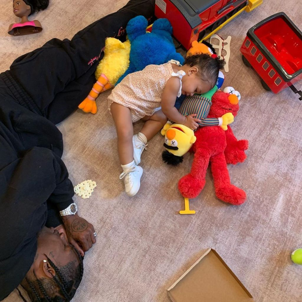 Travis Scott and Stormi Webster Nap on the Floor