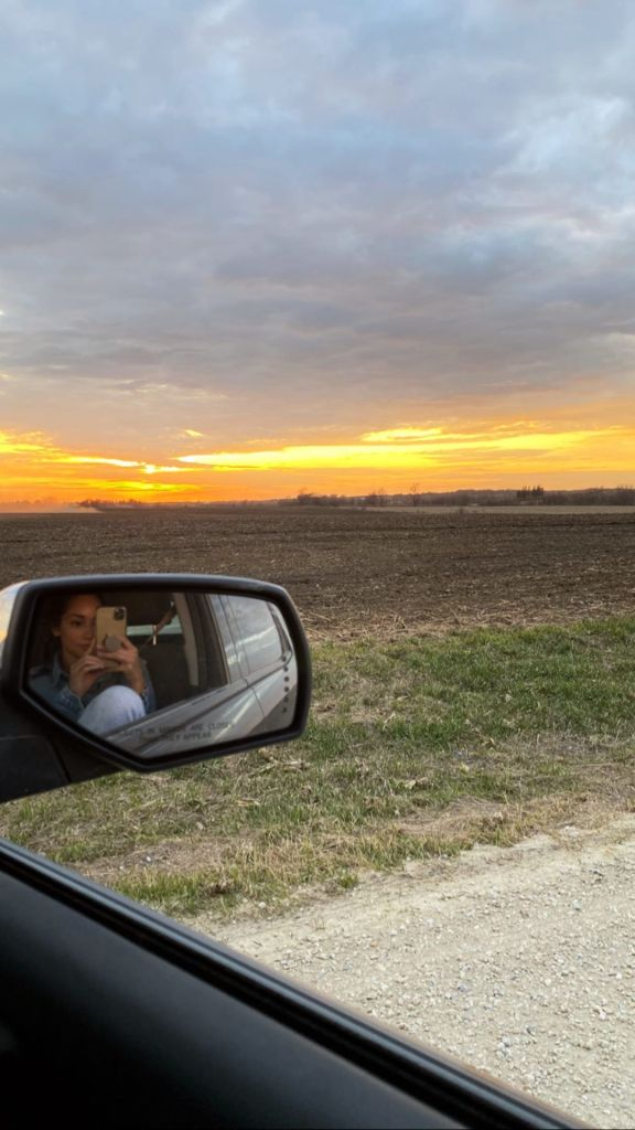 Bachelor Star Victoria Fuller Takes Photo in Car of Chris Soules Farm and Sunset