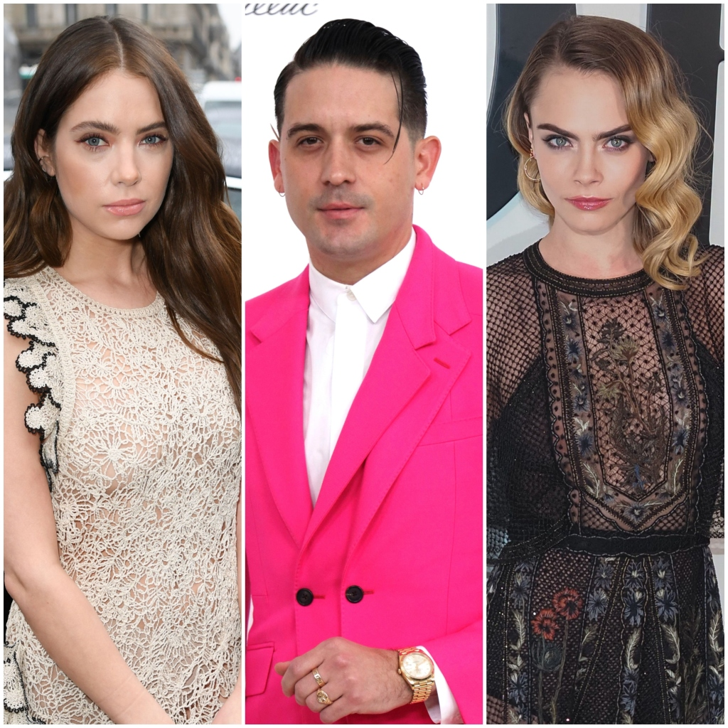 Ashley Benson Brown Hair Wears Nude Lace Dress With Black Ruffles G-Eazy Wears Hot Pink Suit With White Shirt and Cara Delevingne Wears Sheer Black Dress