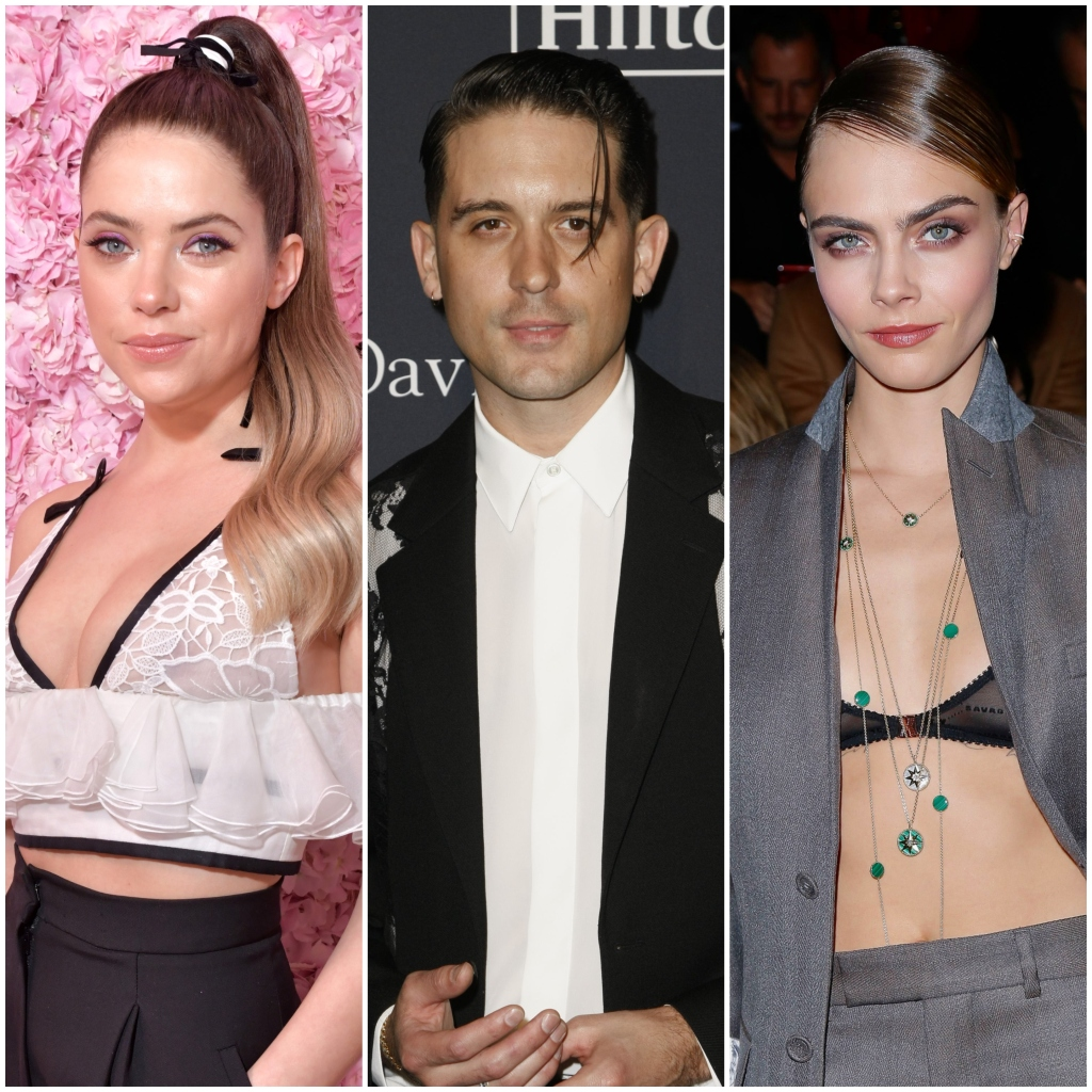 Ashley Benson wears High Ponytail With White Lace Top G Eazy Wears Black Suit With White Shirt Cara Delevingne Wears Black Bra Top and Grey Suit