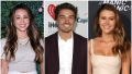 Bachelor in Paradise Alum Danielle Lombard Wears White Shirt and Pants Dean Unglert Smiles in Suit and Girlfriend Caelynn Miller Keyes Wears Nude Dress