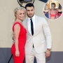 Inset Photo of Britney Spears and Sam Asghari Jokingly Posing Over Photo of Sam Asghari and Britney Spears on Red Carpet