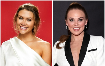 Bachelor Contestant Caelynn Miller Keyes Wears White Silk Off the Shoulder and Black Jeans Bachelorette Hannah Brown Wears White Suit and High Ponytail