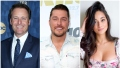 Bachelor Host Chris Harrison Smiles in Blue Suit Chris Soules Wears Denim Button Down Shirt Contestant Victoria Fuller Wears Flowered Top