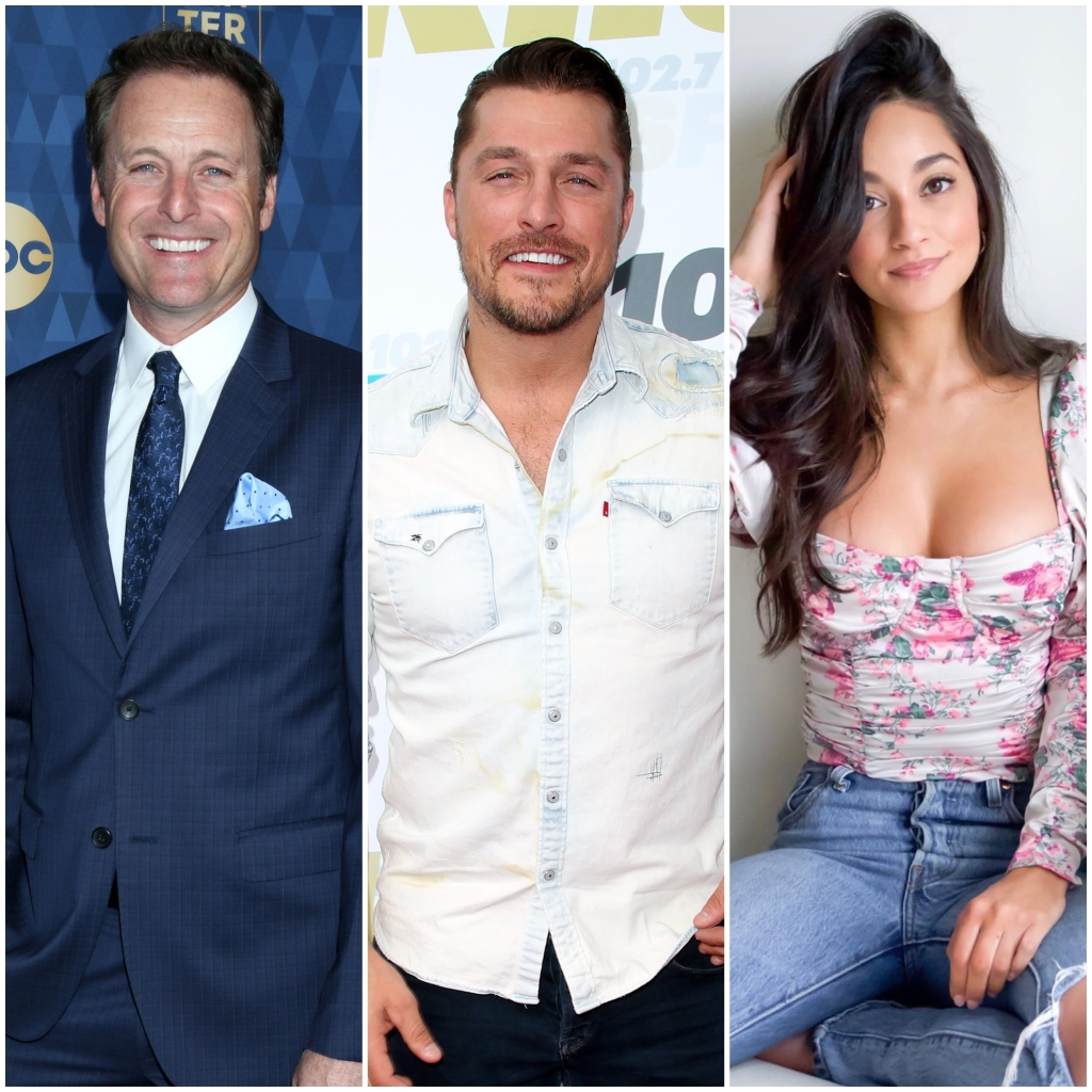 Bachelor Host Chris Harrison Smiles in Blue Suit Chris Soules Wears Denim Button Down Shirt Contestant Victoria Fuller Wears Flowered Top