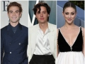 KJ Apa Wears Navy Blue Suit Cole Sprouse Wears White Silk Shirt White Blazer and Black Pants at Vanity Fair Oscars Afterparty Lili Reinhart Wears Black Velvet and White Gown With Hair Pulled Back