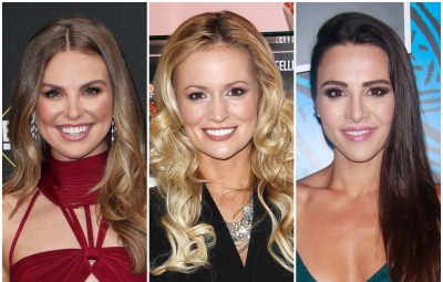 Bachelorette Hannah Brown Wears Red Cut Out Dress Emily Maynard Smiles in Black Dress Andi Dorfman Wears Her Hair to the Side in Turquoise Dress