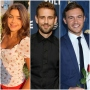 Hannah Ann Wears Flowered Shirt With Red Pants Bachelor Nick Viall Black Button Down Shirt Bachelor Peter Weber Wears Blue Suit and Tie