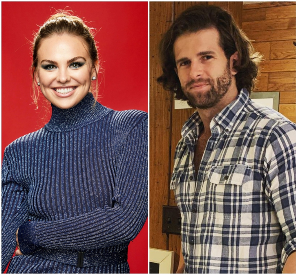Bachelorette Hannah Brown Smiles in Blue Sparkly Dress With Hair in a Bun Jed Wyatt Wears Plaid Shirt