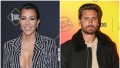 Kourtney Wears Sparkly Striped Suit With Bra Top Scott Disick Wears Black Bomber Jacket and Tan Tshirt