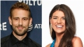 Bachelor Nick Viall Wears Black Dress Shirt Contestant Madison Prewett Smiles in Headshot Wearing Blue Silk Top and Gold Earrings