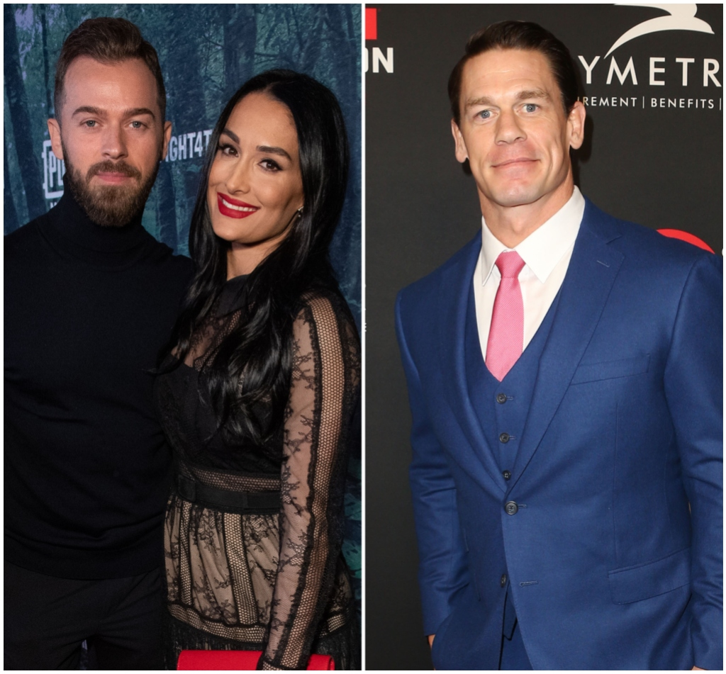 Nikki Bella Wears Black Lace Dress and Red Lipstick With Fiance Artem Chigvintsev in Black Turtleneck Split Image With John Cena in Blue Suit and Pink Tie