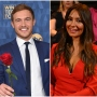 Bachelor Peter Weber Wears Blue Suit and Holds Rose Kelley Flanagan Wears Red Dress at After the Final Rose