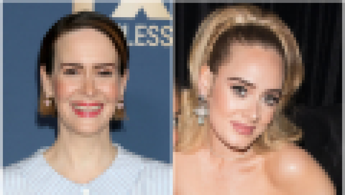 Sarah Paulson Wears Button Up Blue Striped Blouse Adele Wears Off the Shoulder Black Velvet Dress With High Ponytail