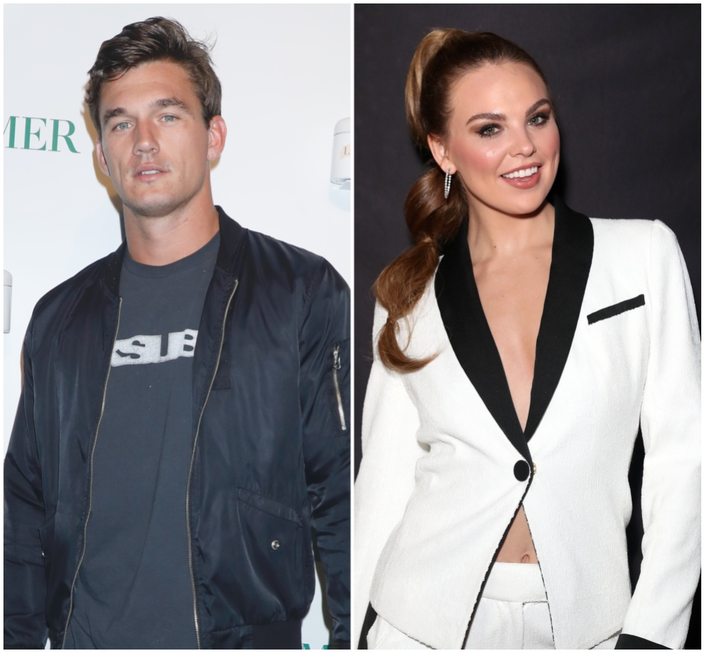 Tyler Cameron Wears Bomber Jacket and TShirt Bachelorette Hannah Brown Wears White Suit With Black Detailing and High Ponytail