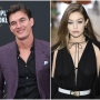 Bachelorette Contestant Tyler Cameron Wears Purple Suit and Black Button Up Shirt Gigi Hadid Walks Runway in Black Dress and White Belt
