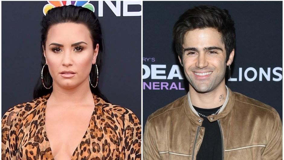 Demi Lovato Wears Cheetah Print Sheer Dress Her Boyfriend Max Ehrich Smiles in Tan Jacket and Black Tshirt