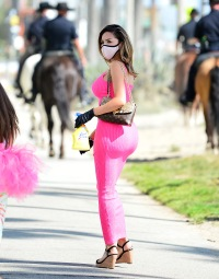 Farrah Abraham and daughter Sophia walk in matching pink tutu outfits
