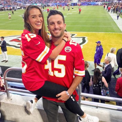 Bachelor in Paradise Couple Jade Roper and Tanner Tolbert Hug During Football Game