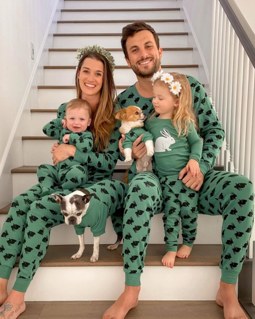 Jade Roper and Tanner Tolbert Wear Matching Pajamas With Daughter Emerson and Son Brooks