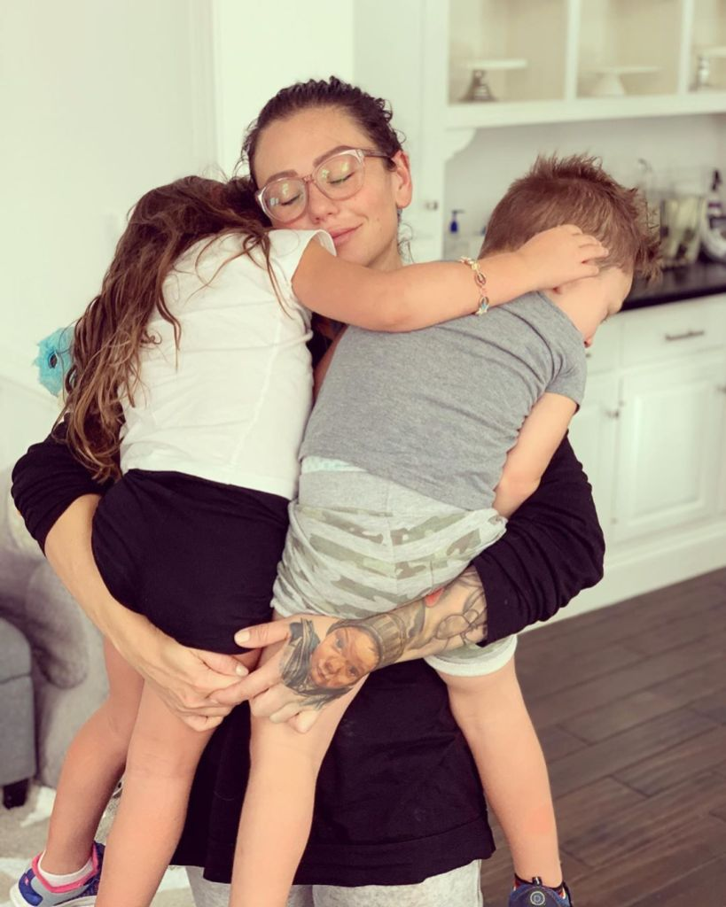 Jenni JWoww Farley Spends Mother's Day With Her Kids Meilani and Greyson Hugs Them in Photo