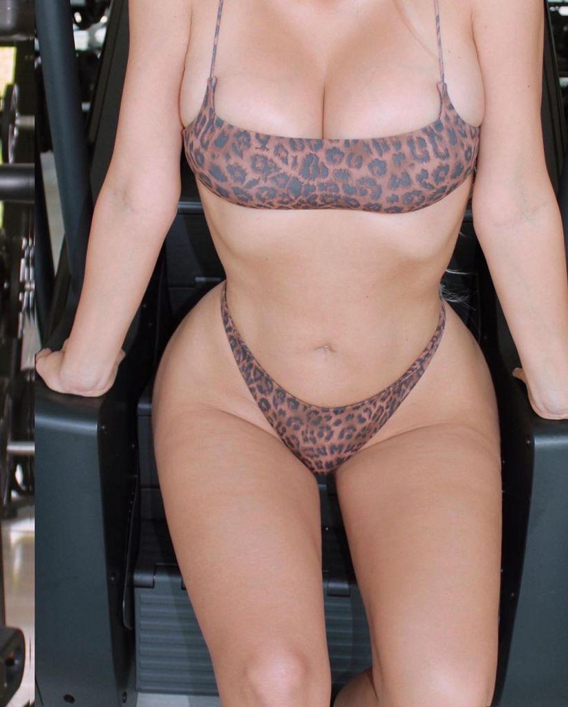Kim Kardashian Leopard Print Bra and Underwear
