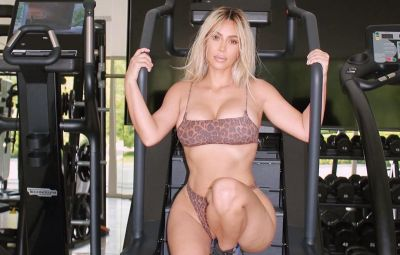Kim kardashian Wears Leopard Print Bra and Underwear in Workout Photos