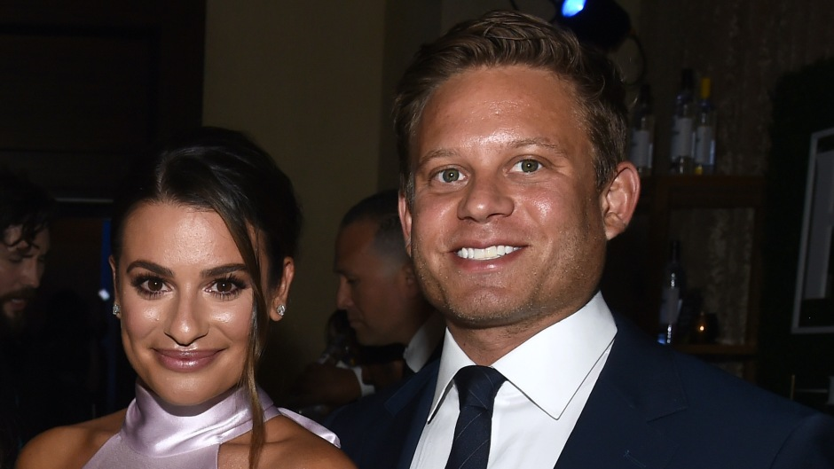 Lea Michele Smiles in Pink Silk Dress With Husband Zandy Reich in Blue Suit