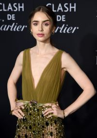 Lily Collins Wears Green Chiffon Dress With Sequined Skirt