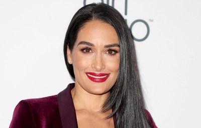 Nikki Bella Smiles in Maroon Velvet Suit