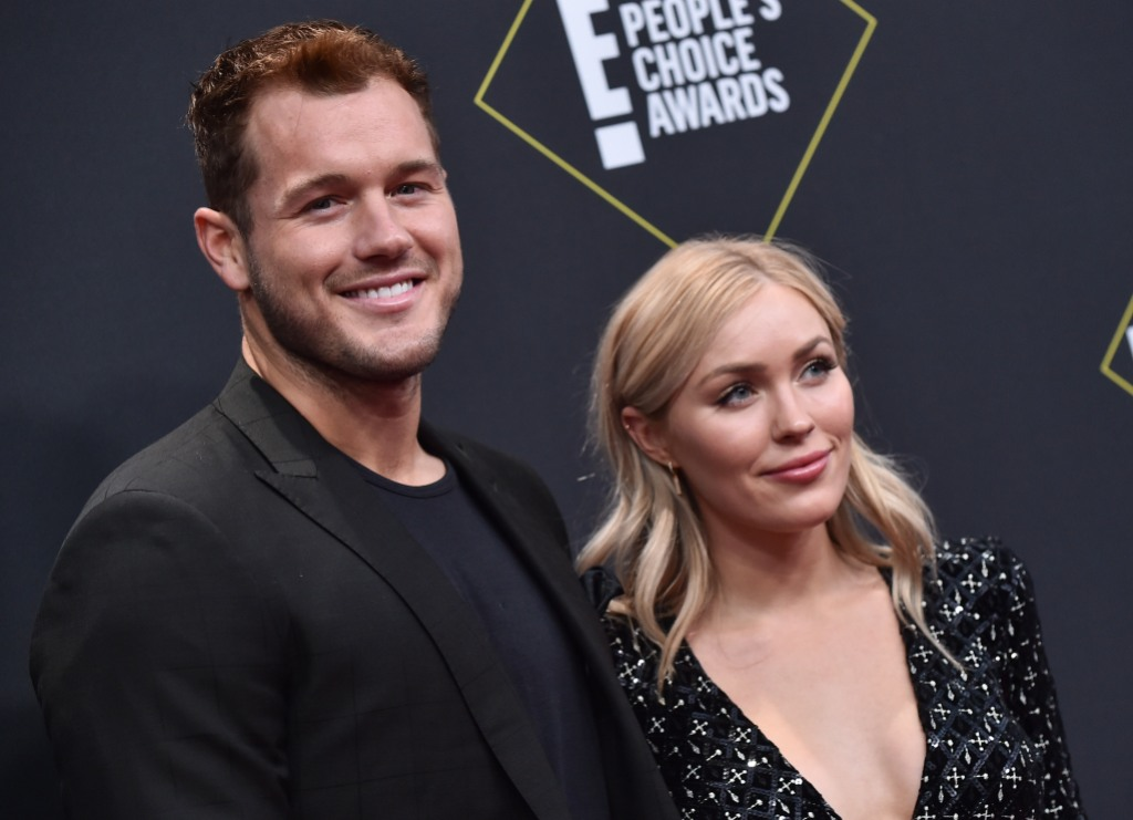 Bachelor Colton Underwood Wears Black Suit With Cassie Randolph in Black Dress on Red Carpet