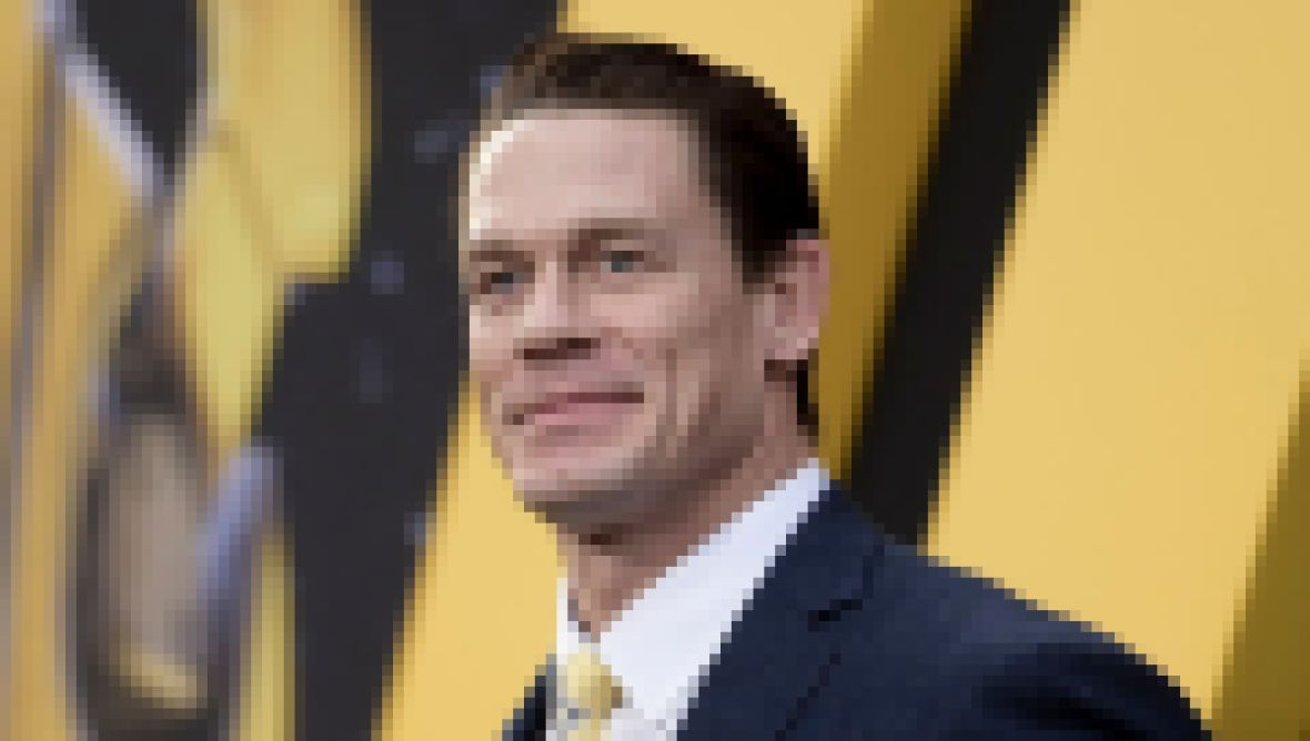 John Cena Wears Black Suit With Yellow Tie