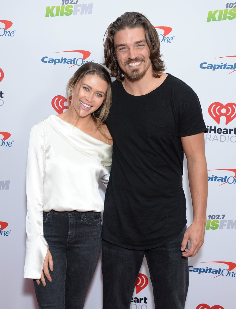 Bachelor in Paradise Star Dean Unglert Wears Black Tshirt and Jeans With Girlfriend Caelynn Miller Keyes in White Silk Top and Black Jeans