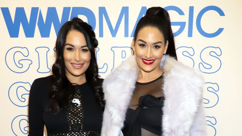 Pregnant Nikki and Brie Bella Smile in Black Outfits