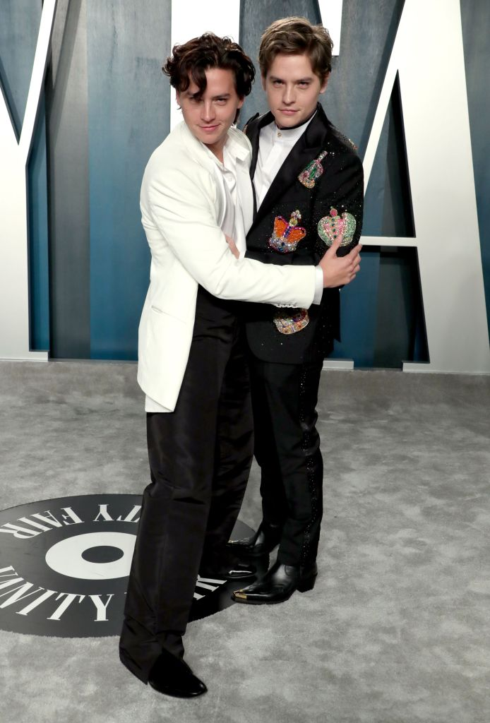 Dylan and Cole Sprouse Hug at Vanity Fair Oscars Afterparty