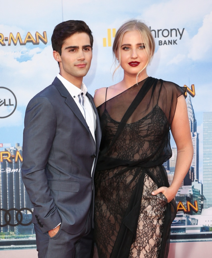 Max Ehrich and Veronica Dunne Wears Sheer Black Dress on Spiderman Red Carpet