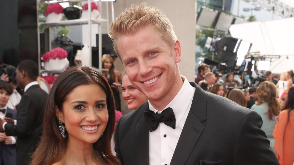 Bachelor Sean Lowe Wears Black Tux With Wife Catherine Giudici in Strpess Gown on Red Carpet