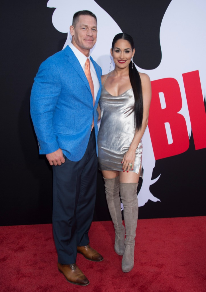 Nikki Bella Wears Silver Minidress With Ex Fiance John Cena on Blockers Red Carpet