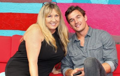 Tyler Cameron Wears Denim Shirt and Jeans and Smiles With Mom Andrea