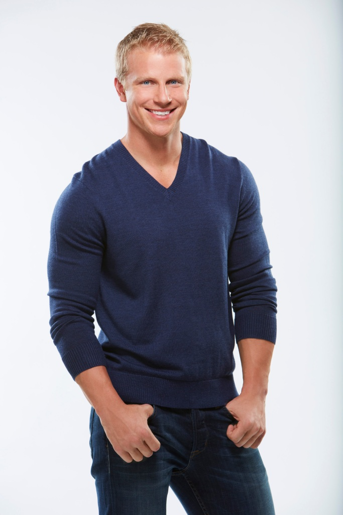 Sean Lowe Wears Blue Sweater and Smiles for Bachelor headshot