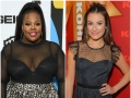 Amber Riley Wears Black Sheer Gown High Ponytail and Pink Lipstick Lea Michele Wears Black Polka Dot Gown With Ribbon in Her Hair