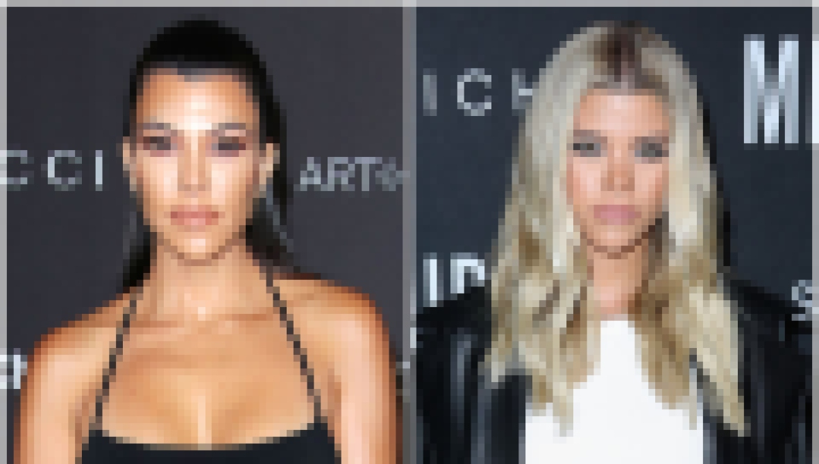 Kourtney Kardashian Wears Hair Half Up and Black Halter Gown Sofia Richie Wears Leather Jacket and Pants With Whit Crop Top