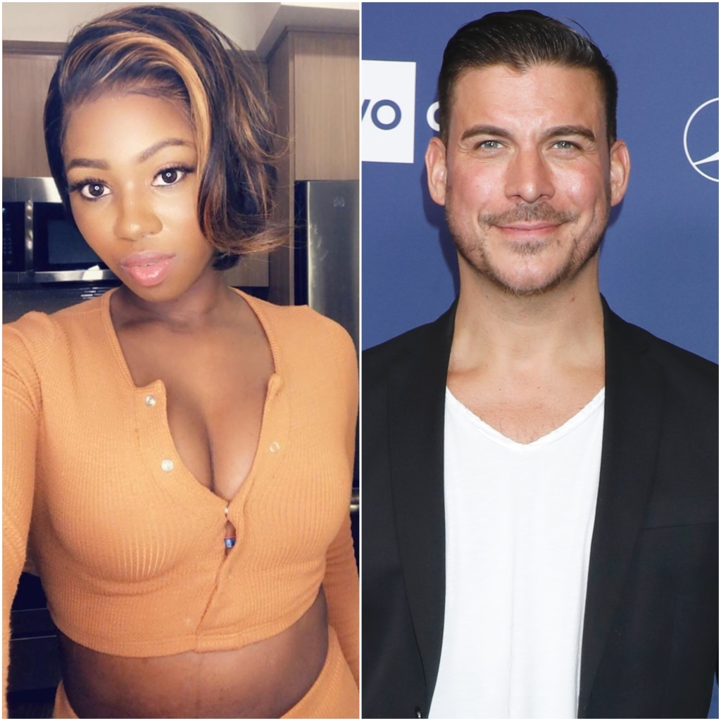 Vanderpump Rules Faith Stowers Selfie in Orange Sweater and Jax Taylor Wears Blazer and White VNeck Shirt